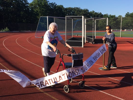 Sr. Helen O'Donnell walked the entire track of the