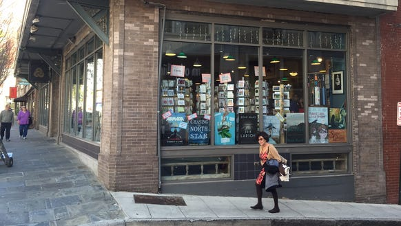 Malaprop's bookstore on the corner of Haywood and Walnut