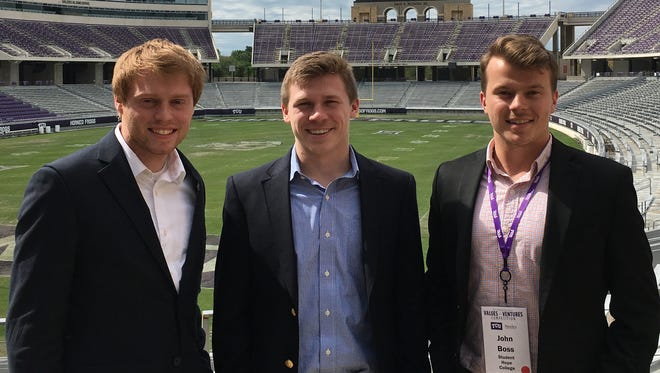 From left, Matt Gira, Danny Vessells, and John Boss in the stadium at TCU in Fort Worth. They are the the three founding partners of the firm Fathom.