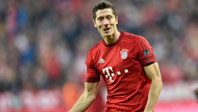Bayern Munich's Robert Lewandowski celebrates scoring against Dinamo Zagreb at Allianz Arena in Munich.