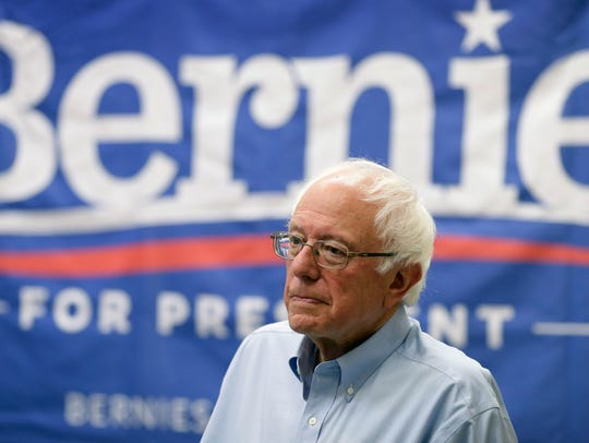 Sen. Bernie Sanders, I-Vt., prepares to speak at the