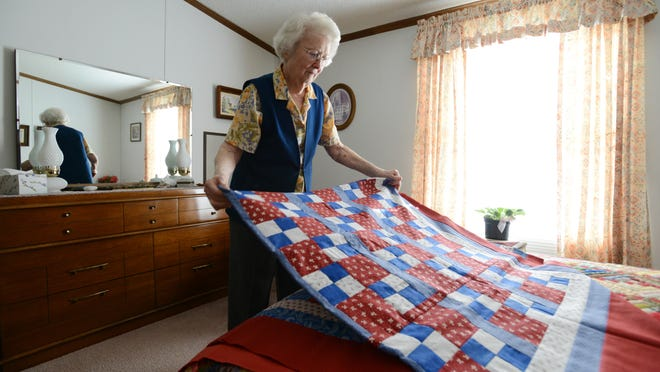 Ruth Spence, 95, has been making quilts for decades. She started making quilts for the Quilts of Valor Foundation, a national organization that gives homemade quilts to soldiers returning home.
