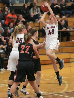 Buckeye Central's Elizabeth Heydinger attempts a shot during the Division IV regionals against Cornerstone Christian at Massillon Perry High School on Saturday.