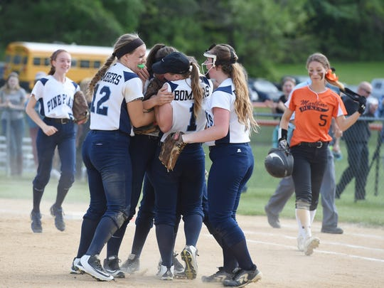 Pine Plains' softball team celebrates their win over Marlboro in Thursday's MHAL championship at Marlboro.