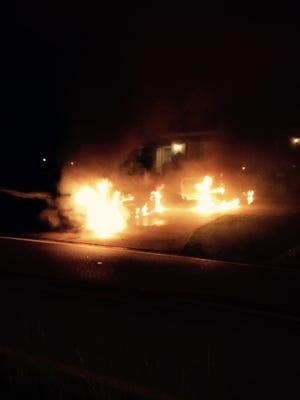 The separate fires started at the back of both vehicles.