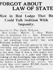 A story brief in the March 8, 1918, edition of the