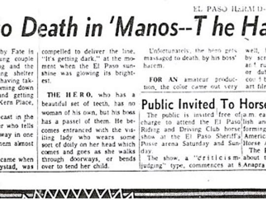 "The El Paso Herald-Post ran its review of ""Manos: The"