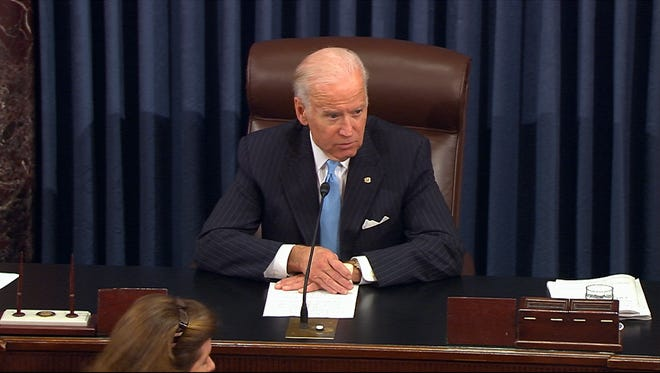 In this image from video from Senate Television, Vice President Joe Biden presides over the Senate at the U.S. Capitol in Washington, Monday, Dec. 5, 2016. A bipartisan bill to speed government drug approvals and bolster biomedical research cleared its last procedural hurdle in the Senate on Monday in an emotional moment for Biden. The overwhelming 85-13 vote put the measure on track for final legislative approval by the Senate as early as Tuesday. (Senate TV via AP) ORG XMIT: WX109
