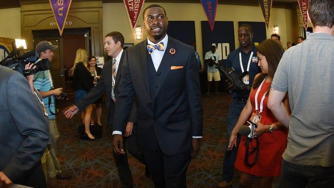 Jul 13, 2015; Hoover, AL, USA; Auburn quarterback Jeremy Johnson walks through the lobby during SEC media days at the Wynfrey Hotel. Mandatory Credit: Kelly Lambert-USA TODAY Sports
