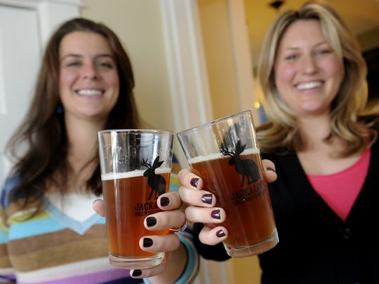 Jackalope Brewery co-owners Bailey Spaulding, left, and Robyn Virball.