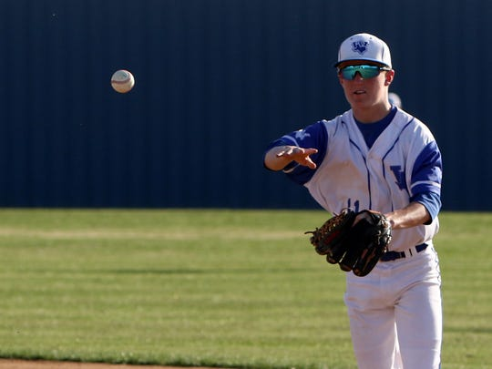 Windthorst's Hunter Wolf throws to first for the out