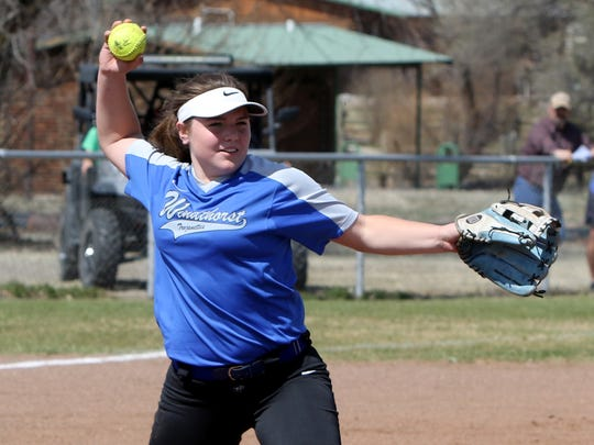 Windthorst's Laynie Brown throws to first for the out