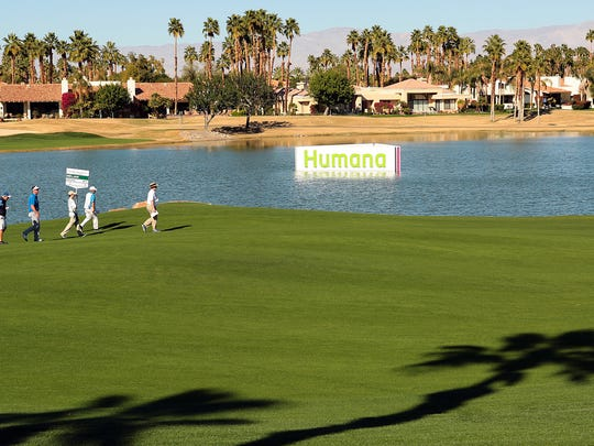 PGA Tour player Charlie Beljan (second from left) and pro-am teammates walk down the18th fairway of the Palmer Private Course at PGA West on Wednesday during the Eisenhower Bob Hope Legacy Pro-Am tournament in La Quinta. The 2015 Humana Challenge starts Thursday.