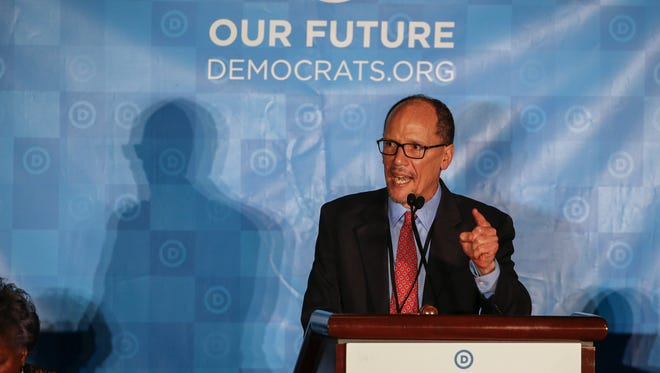 Democratic National Committee chair candidate and former U.S. Labor Secretary Tom Perez speaks during the group's winter meeting in Atlanta on Feb. 25, 2017.