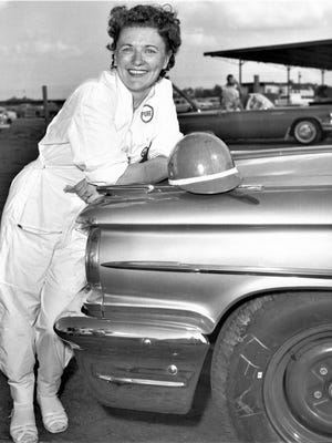 Vicki Wood at Daytona International Speedway in 1959 where she set the women's speed record of 130.379 mph.