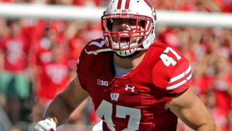 Wisconsin Badgers linebacker Vince Biegel (47) reacts after sacking Georgia State Panthers quarterback Emiere Scaife (12) during the first half of the Wisconsin Badgers-Georgia State  football  game Saturday, September 17, 2016,  at Camp Randall Stadium in Madison, Wis.