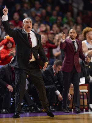 South Carolina's Frank Martin coaches against Marquette during the first round of the NCAA Tournament at Bon Secours Wellness Arena in downtown Greenville on Friday, March 17, 2017.