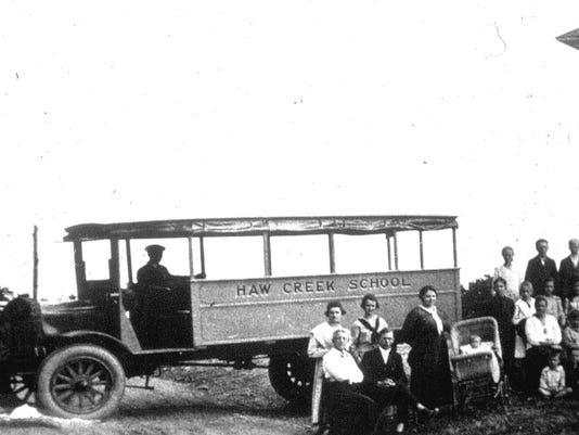 1919 Haw Creek School bus, light sky