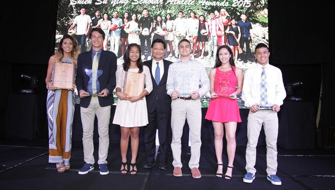 Winners: The winners of the 2015 Shieh Su Ying Scholar Athlete Awards pose last night with the competition's founder Dr. Thomas Shieh.