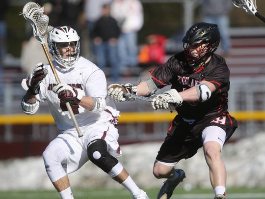 Wylie Sherman of Ridgewood controls the ball in front of Jermey Barr of Northern Highlands. Ridgewood went on to beat visiting Northern Highlands, 10-6, Wednesday, March 29, 2017
