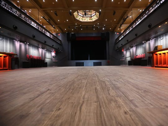 The hall has no fixed seating, allowing it to present