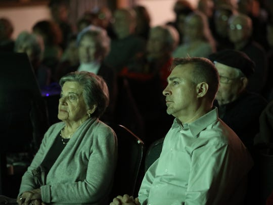 "Andrew Jacobs, Esther Geizhals and about 150 other people were on hand for a screening of the ""Four Seasons Lodge"" at Congregation Beth Sholom in Teaneck on Sunday evening, March 4, 2018. The documentary film, by Jacobs, focuses on a group of Holocaust survivors, including Geizhals, who vacationed in the Catskills in the 1990s."