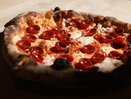 A pepperoni pizza is shown at Razza in Jersey City,