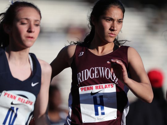 Katherine Muccio, of Ridgewood, runs the second leg of the distance medley at Penn Relays. Ridgewood finished with a time of 12:31.8. Thursday, April 26, 2018