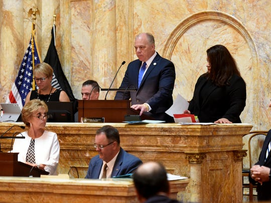 New Jersey lawmakers are back at the State House in Trenton on Sunday, July 1, 2018 to vote on the budget after reaching a last minute budget deal on Saturday to avoid a government shutdown. Senate President Stephen Sweeney presides over the senate while voting continues on bills pushed to the side last week during budget debates on Sunday, July 1, 2018.
