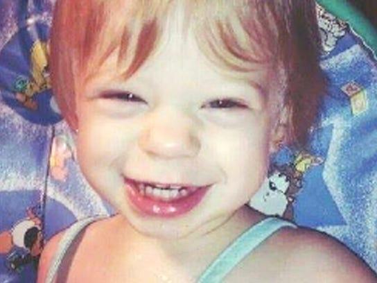 2-year-old Dezirae Sheldon of Poultney.