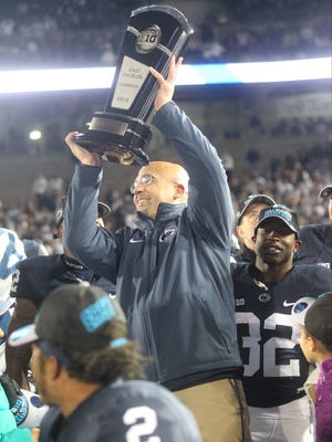 """Penn State head coach James Franklin head some """"fire Franklin"""" during halftime of the Minnesota game last season. The Nittany Lions ended that season as Big Ten champions."""