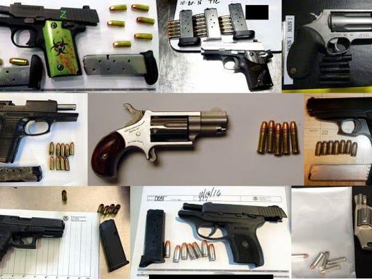 Guns seized at airports
