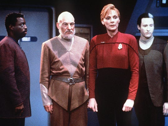 ORG XMIT: Q1P-0311091213237235 A scene from the final episode of 'Star Trek: The Next Generation' with LeVar Burton, left, Patrick Stewart, Gates McFadden and Brent Spiner.