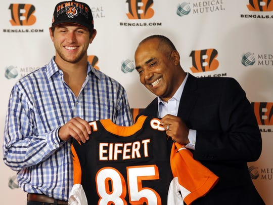 Notre Dame tight end Tyler Eifert was the Bengals' pick at No. 21 in 2013.