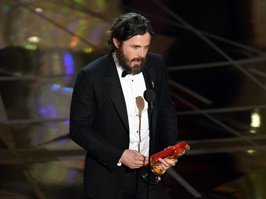 Actor Casey Affleck accepts best actor for 'Manchester by the Sea' onstage during the 89th Annual Academy Awards.
