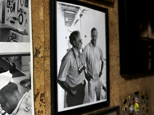 A framed photograph of Jack Barham, now 91, on assignment.