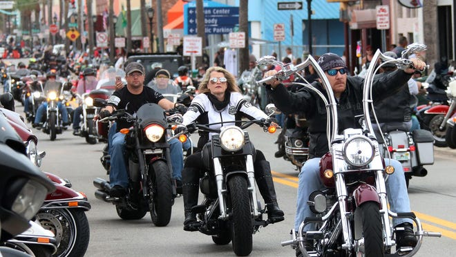 Riders and their bikes takeover Main Street, Friday october 18, 2019 as Biketoberfest shifts into high gear for the weekend.
