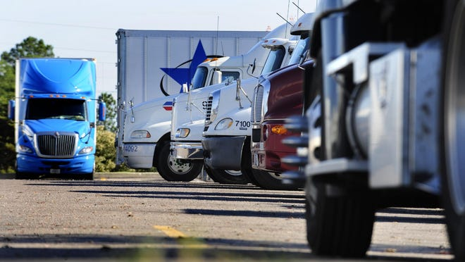 FILE - Trucks parked at the Pilot Truck Stop on Riverwatch Parkway in Augusta.