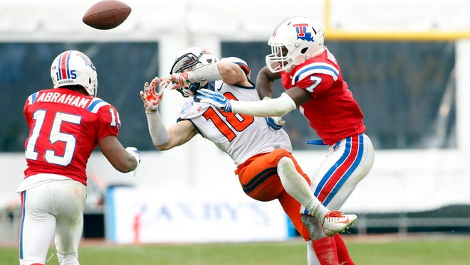 Louisiana Tech safety Xavier Woods (7) has turned it to be one of the stars of Skip Holtz's first recruiting classes at Tech.
