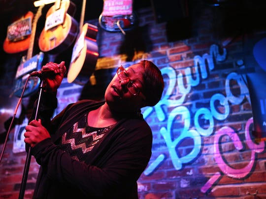 Teec'a Easby performs with her band, Torrey Casey & The Southside Hustle, during the 2018 International Blues Challenge at Rum Boogie Cafe.