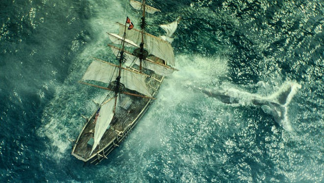 """The whale attacks in Warner Bros. Pictures' and Village Roadshow Pictures' action adventure """"In the Heart of the Sea,"""" distributed worldwide by Warner Bros."""