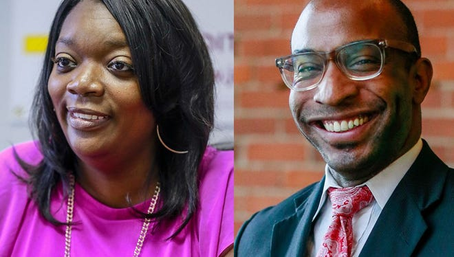 Detroit City Councilwoman Janee Ayers, left, defeated her competitor, the Rev. David Bullock, in a race for a council seat in November, 2016.