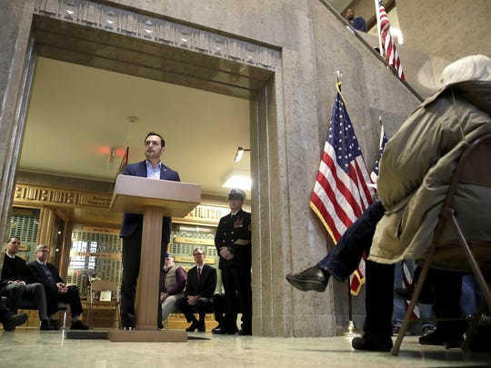 U.S. Rep. Mike Gallagher speaks Saturday at a Veterans Day ceremony at the Outagamie County Courthouse in Appleton.