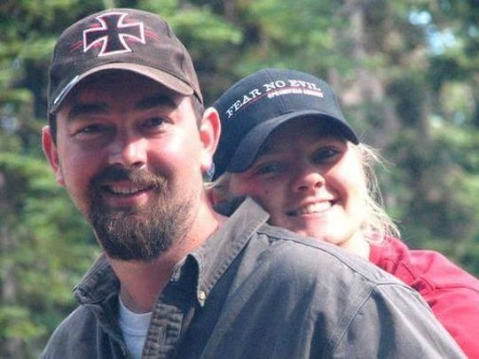 Veronica Rutledge with her husband.