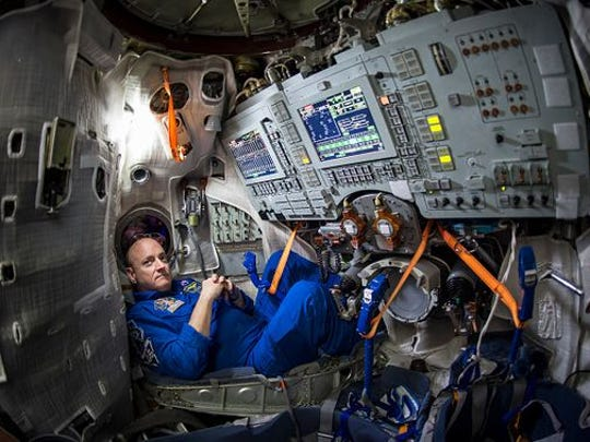 NASA Astronaut Scott Kelly is seen inside a Soyuz simulator at the Gagarin Cosmonaut Training Center (GCTC), Wednesday, March 4, 2105 in Star City, Russia.