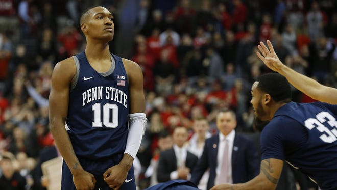 Penn State guard Tony Carr celebrates after hitting the game-winning 3-pointer at the buzzer at Ohio State last week.