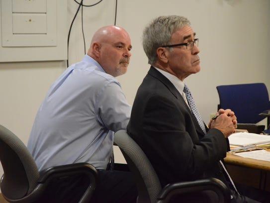 David Hursley, left, and his attorney, J. Thomas Schaeffer
