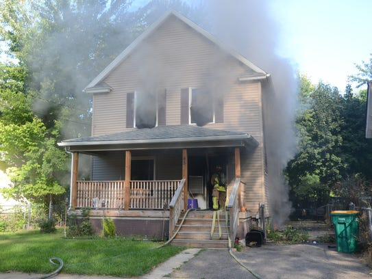 Fire heavily damaged a home at 45 Magnolia Ave. in