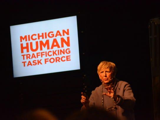 Jane White speaks during the Thursday morning conference.