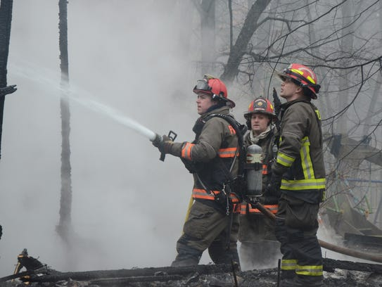 Firefighters from five departments battled a fire Tuesday,